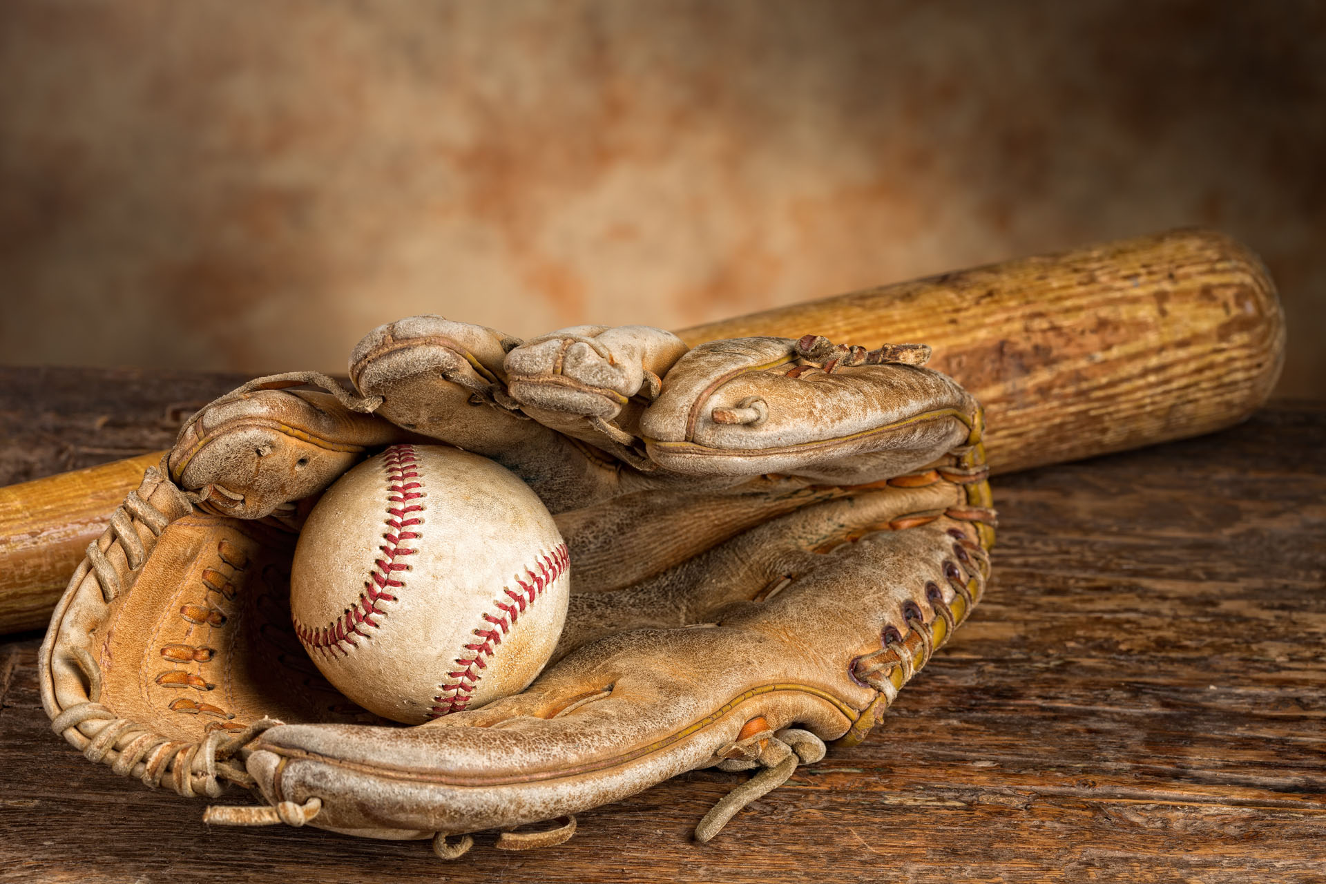 old baseball bat with ball and weathered glove � osmosis