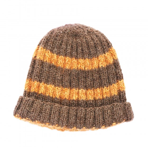 Brown-knitted-head-cap-with-the-orange-stripes,-isolated-over-the-white-background