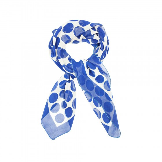 White-silk-scarf-in-blue-circle-isolated-on-white-background