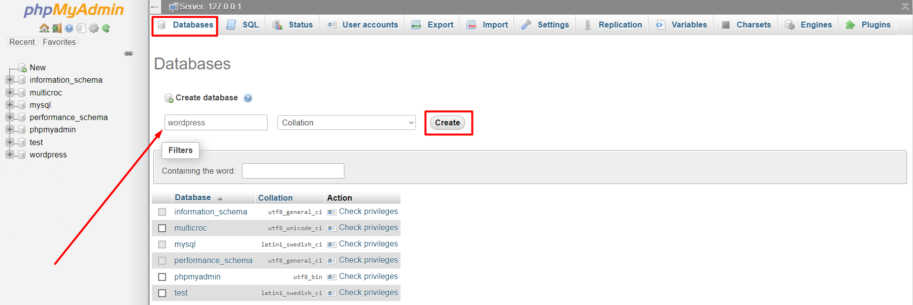 create database in phpmyadmin