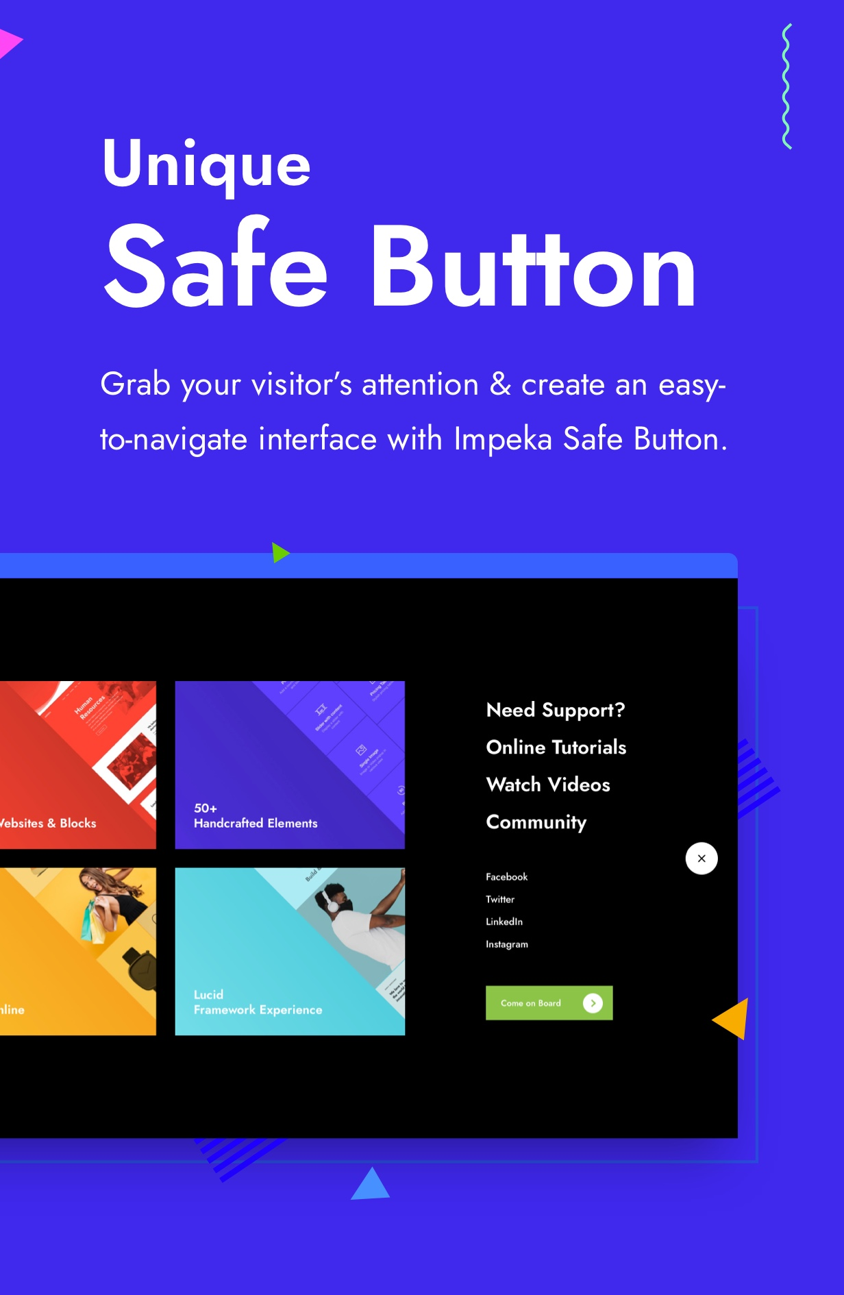 Impeka Premium Multipurpose WordPress theme by Greatives, Safe Button feature